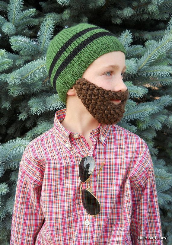 Beard Hat, Knit Boys & Mens Cap, Knitted Beanie Beard, Pick Hat and Beard Color, Toddler Children Youth Teen Adult Knittting. $27.99, via Etsy.