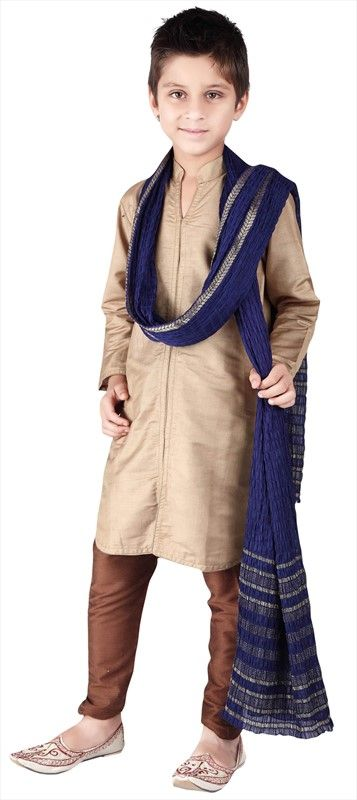 200599, Boy Kurta Pyjama, Silk, Cotton, Thread, Gold Color Family