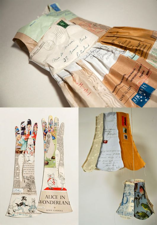 jennifer collier focuses on creating work from recycled paper; by bonding, waxing, trapping and stitching she produces unusual paper 'fabrics', which are used to explore the 'remaking' of household objects.