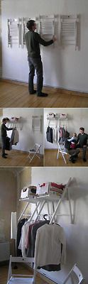 storagegeek: DIY Instant Closet from Chairs This really is incredibly clever. The chairs are a simple wooden folding variety and are not permanently affixed to the wall. Yet when opened they stabilize, hold boxes of loose articles and are the perfect width from the wall to hang even the most bulky of garments. The entire article Re-Thinking Furniture: Innovative Design Explorations by Yi Cong Lu from Core77 is a good read and full of clever designs.