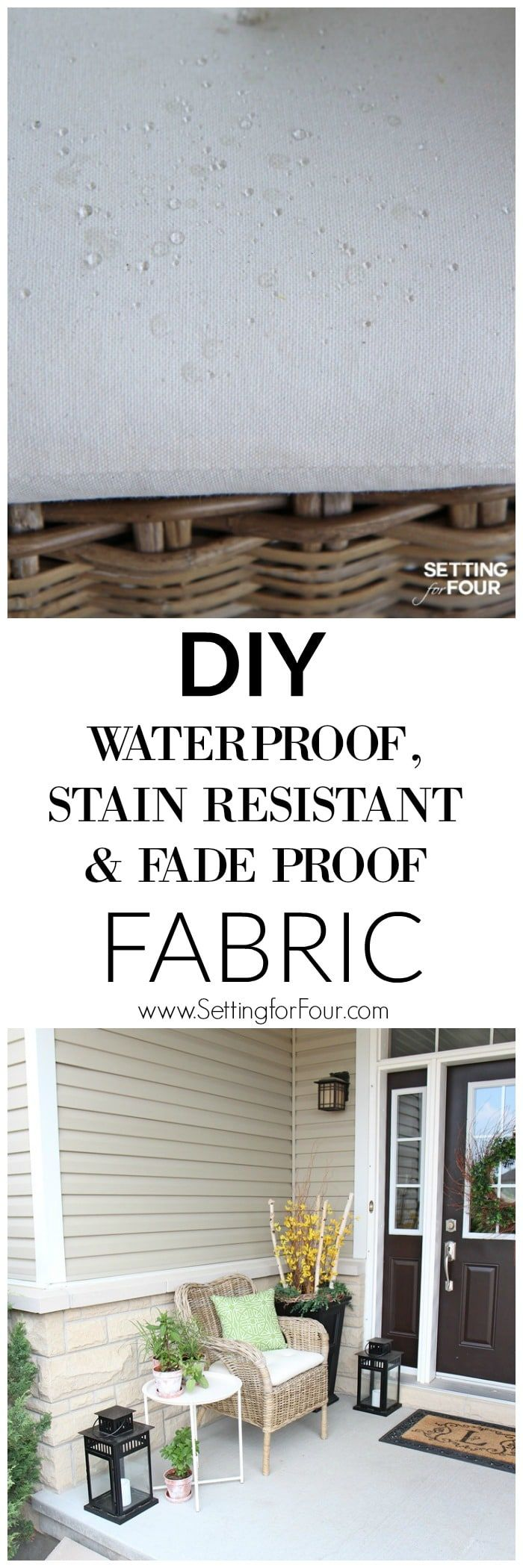Turn indoor cushions into outdoor cushions with this AMAZING water seal spray! Makes the fabric waterproof and fadeproof. You have to try this easy DIY project!