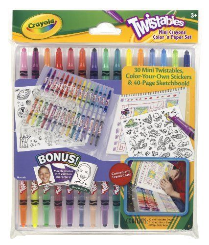 Crayola Twistables Mini Crayon Color 'N Paper Set by Crayola. $11.99. Contains a 40 page Sketchbook. Most popular assortment of twistable crayons with convenient lap desk format. No sharpening or breakage. Stickers add to the fun and create a whole new on-the-go-play. Hours of creative fun. From the Manufacturer                Crayola Twistables Mini Crayon Color 'N Paper Set adds a tiny twist to coloring and drawing. The case unfolds to a convenient lap desk design.          ...