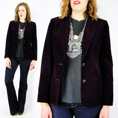 vtg 70s 80s rocker hipster BURGUNDY CORDUROY velvet SKINNY FIT blazer jacket S $28.00