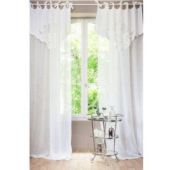 Rideau à nouettes en lin blanc 140 x 300 cm ROMANCE