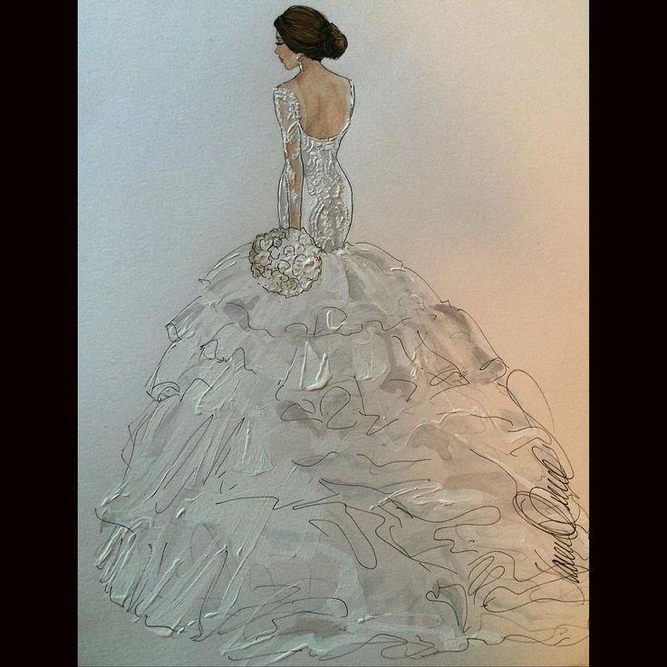 Katia...in Steven Khalil- a fav bride- @katia.rizk @steven_khalil #revisit #realbride #bridalillustration For Illustration enquiry- please contact - karenorrillustration@gmail.com