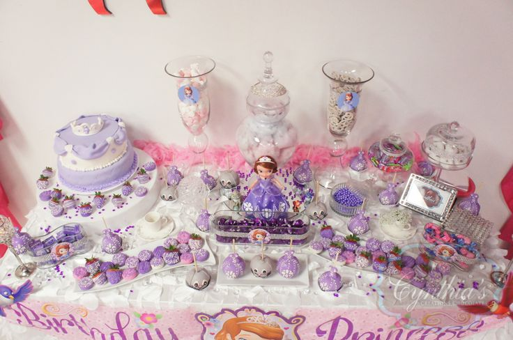Sofia The First Theme Party Candy Buffet Desert Table