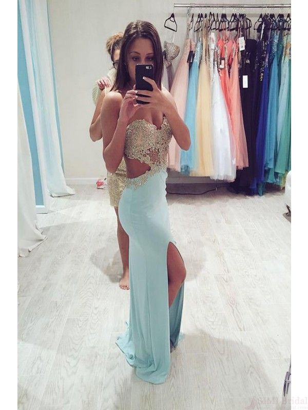 Sexy Sweetheart prom dresses, Beading Split prom dress,Floor Length Prom Dresses ,Evening Party Dresses#simibridal