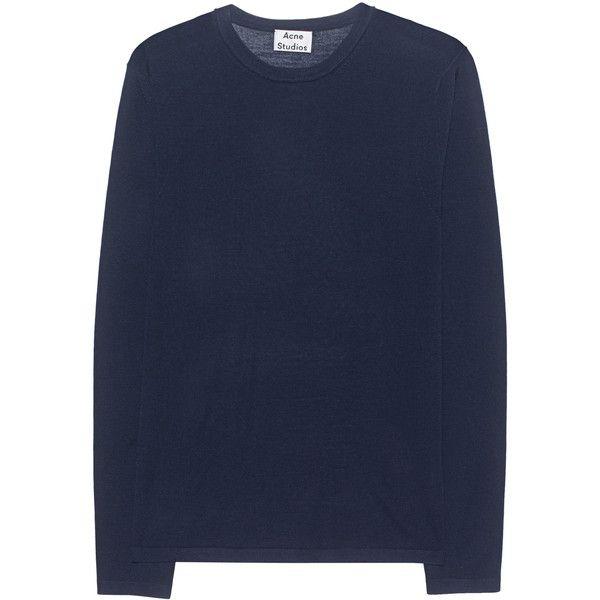 ACNE STUDIOS Kort Navy // Pullover of merino wool ($125) ❤ liked on Polyvore featuring men's fashion, men's clothing, men's sweaters, mens merino sweater, men's crewneck sweaters, mens merino wool sweater, mens slim fit sweater and mens crew neck sweaters