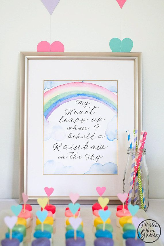Pastel Rainbow Party Poster, Printable Rainbow Watercolor Wall Art