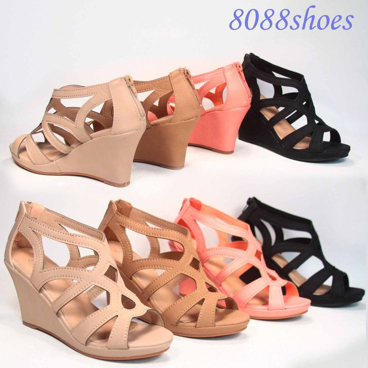 Women's Fashion  Strappy Open Toe Low Wedge Sandal Shoes 4 Colors Size 5.5 - 10  #TopModa #PlatformsWedges