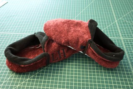 Instead of embroidering the center front of these slippers, I decided to stitch the monogram (and a little Valentine heart) on the outer si...