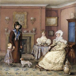 2人の女性、子供や女性知事、未知の芸術家、Cのグループの肖像画。 1830。 水彩画。