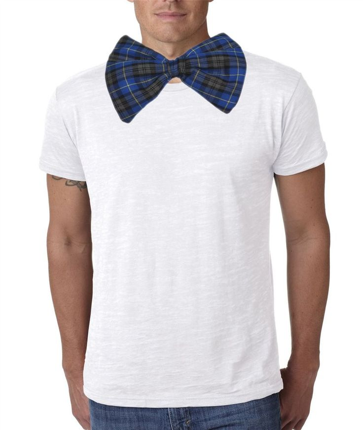 Adults Blue Hunting Tartan Giant Bow Tie Funny Burns Night Fancy Dress