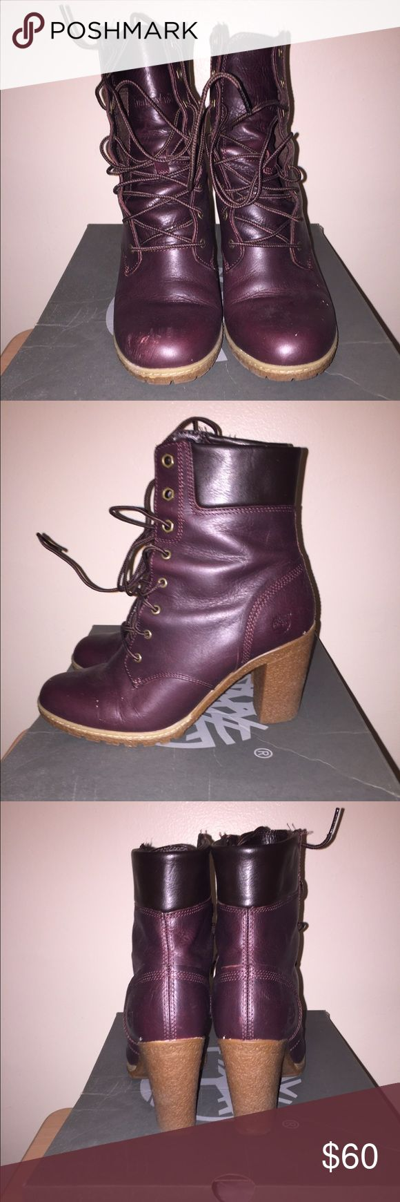 Timberland Booties Burgundy. Leather. Timberland. Heeled Lace Up Bootie. Lightly Worn. Mid Heel. Size 8.5. Timberland Shoes Heeled Boots