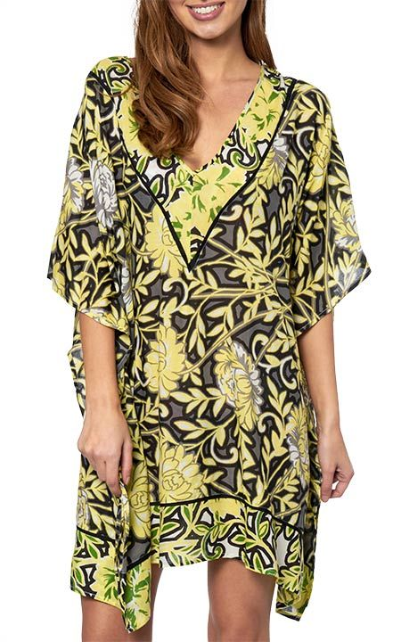 Vibrant colours and floral pattern give this gorgeous V-neck kaftan an essence of easy-breezy style for long balmy days and nights. With classic contrast piping that is set to offset your look, take the plunge here! Shop the look here: https://www.jets.com.au/shop/browse/?story=736