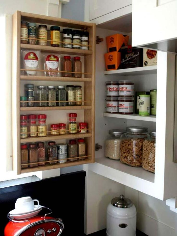 Spice rack on the back of your kitchen cabinet - you'd probably need heavy-duty hinges, but a great idea!