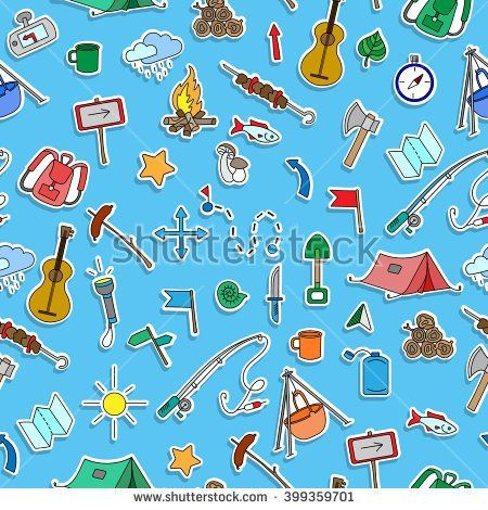 Seamless pattern with simple hand-drawn icons on the theme of camping and traveling,  colored stickers on blue background