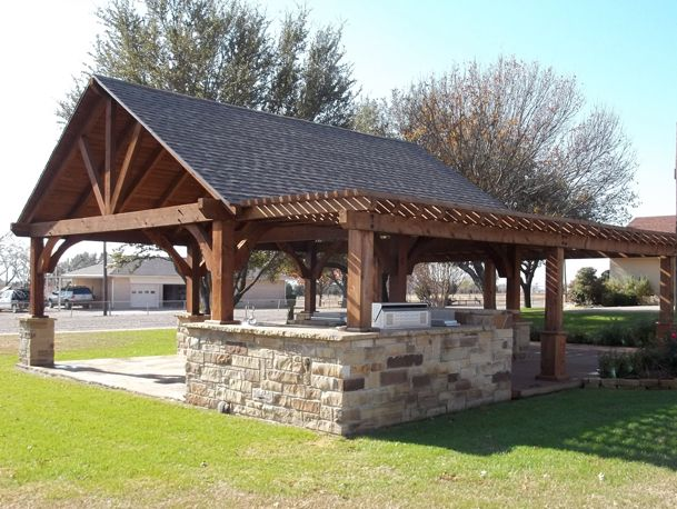 The strong lines and 8/12 pitch of the roof creates a protected, but breezy outdoor room perfectly suited for an outdoor kitchen, al fresco dining, or dancing! Description from lawn-master.com. I searched for this on bing.com/images