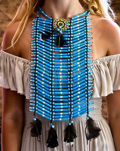 Native American Breastplate - Medium All Turquoise - $45