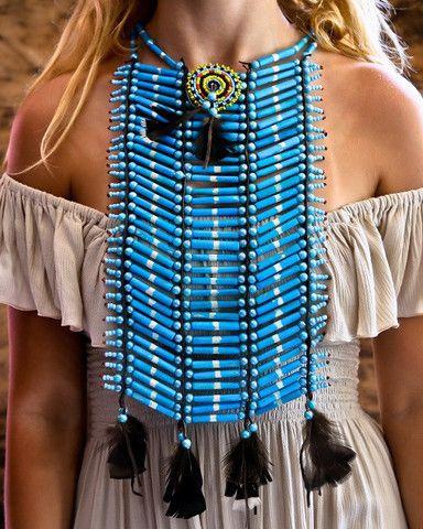 Native American Breastplate - Medium All Turquoise - $45