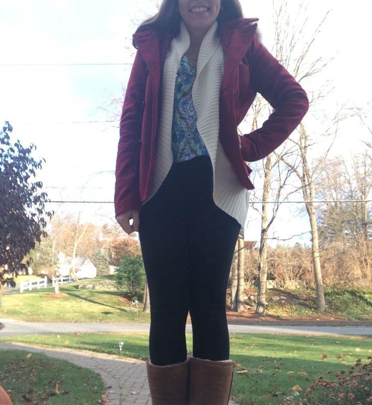 Coat-Delia's Cardigan-Forever 21 Shirt-Delia's Leggins-American Eagle Boots-Bearpaw