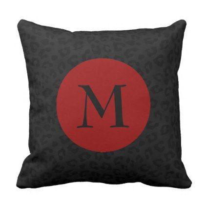 Monogram Panther Print Throw Pillow - monogram gifts unique design style monogrammed diy cyo customize