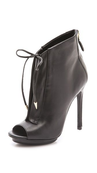 Orrino Lace Up Open Toe Booties