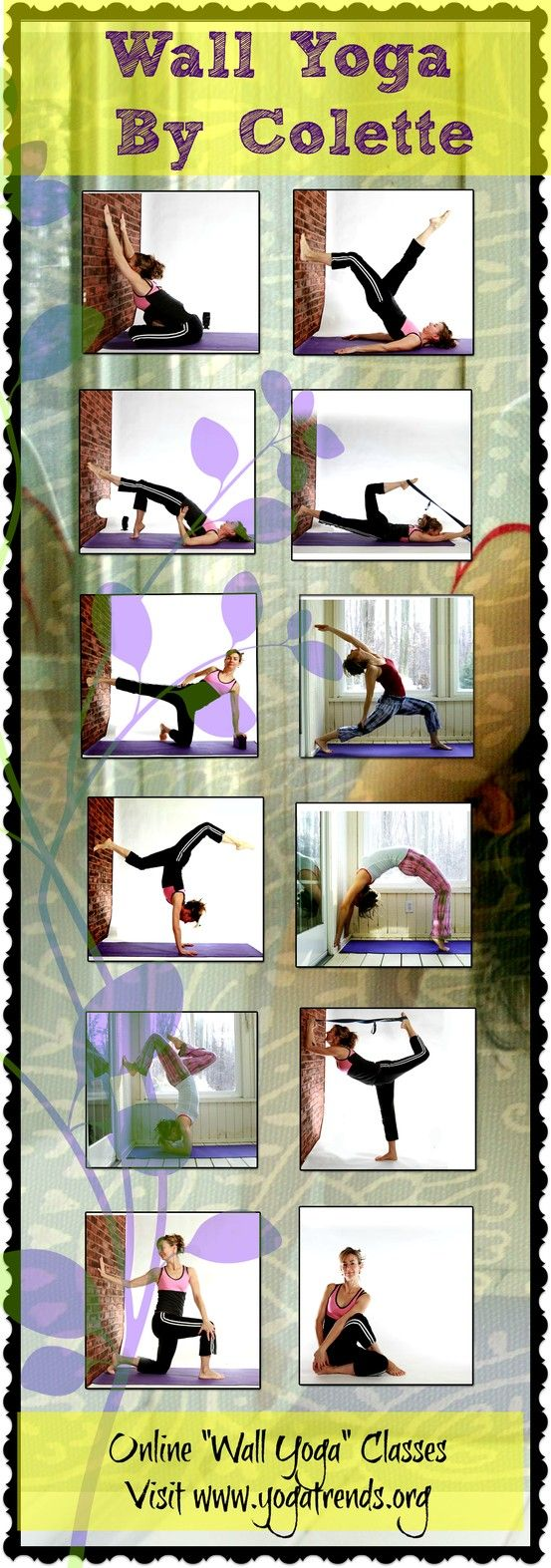"Take Yoga to a whole new level with ""Wall Yoga"" by Colette.  See our Virtual Classes! Visit our site."