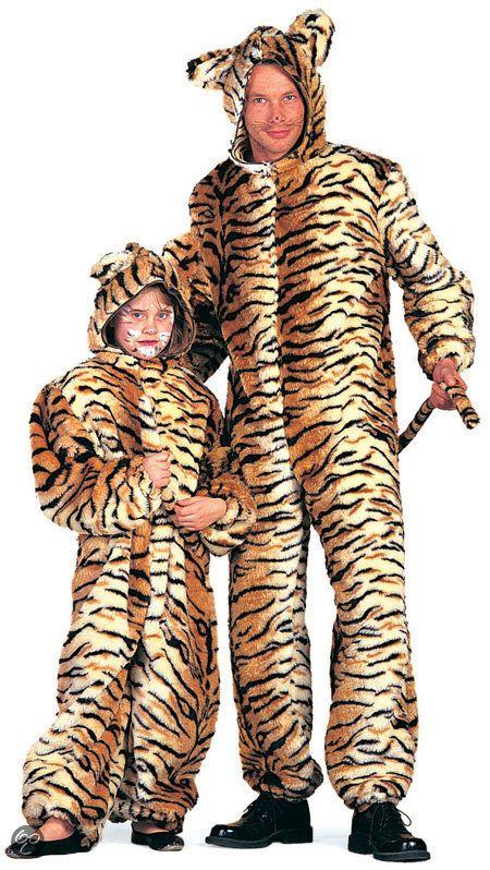 Carnavalskleding dierenpak Tijger plusch tijgerpak kind Maat 128