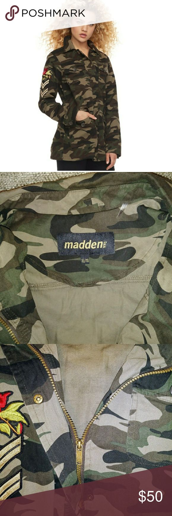 Madden NYC Patch Camo Utility Jacket Youth LG Madden NYC Patch Camo Utility Jacket  Patched long sleeves rose on right sleeve,camo pattern,zip and snap front,4 pockets.100% cotton.NWT 80$. Not Negotiable!!!!! Madden NYC Jackets & Coats Utility Jackets