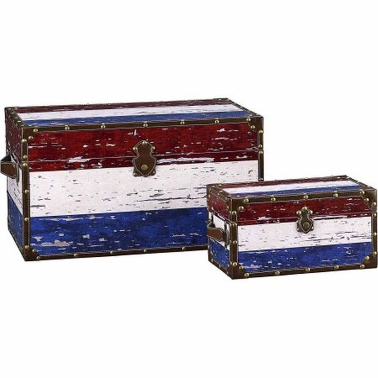 Household Essentials Decorative Storage Trunk American Flag Design Set of 2 #HouseholdEssentials