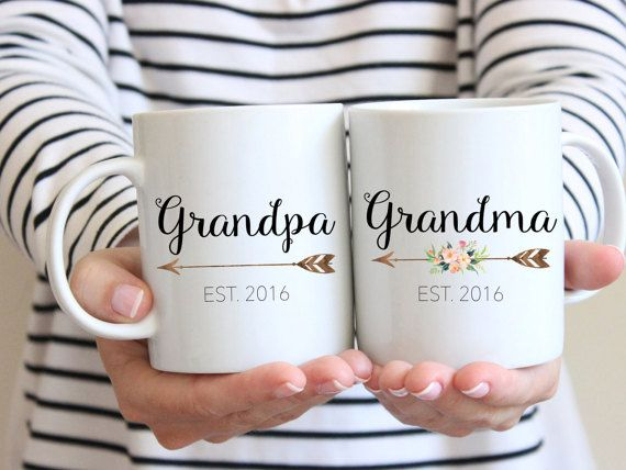 Grandma & Grandpa Mug Set ( You will receive 2 mugs. This is for the set as depicted in the picture above).  --------------------------FEATURES & SPECS---------------------------  • 100% traditional ceramic white mugs available in 11 oz. or 15 oz. capacity. • Image is printed on BOTH sides of the mug • Microwave and dishwasher (top rack) safe and FDA approved for food and beverage safety. • Our designs are professionally printed and sublimated onto the mugs which will not crack, peel or wash…