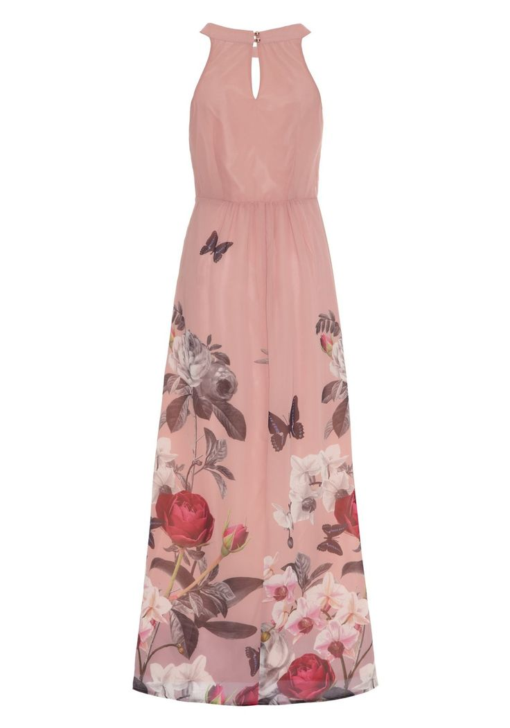 Orchid Print Halterneck Maxi Dress