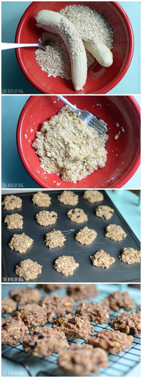 2 Ingredient Cookies + the mix-ins of your choice! 2 large old bananas + 1 cup of quick oats. You can add in choc chips, coconut, or nuts if you'd like. Then put it in the oven at 350 for 15 mins!