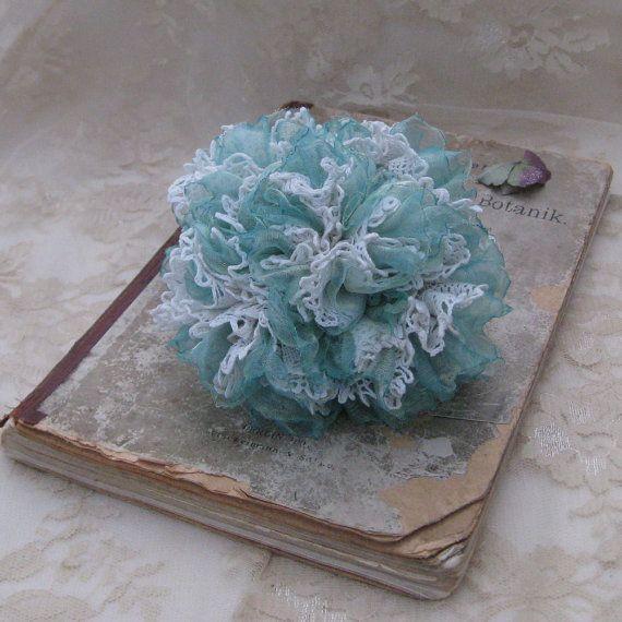 HORTENSIA Corsage Brooch Flower Vintage Lace by FleurDeBoheme