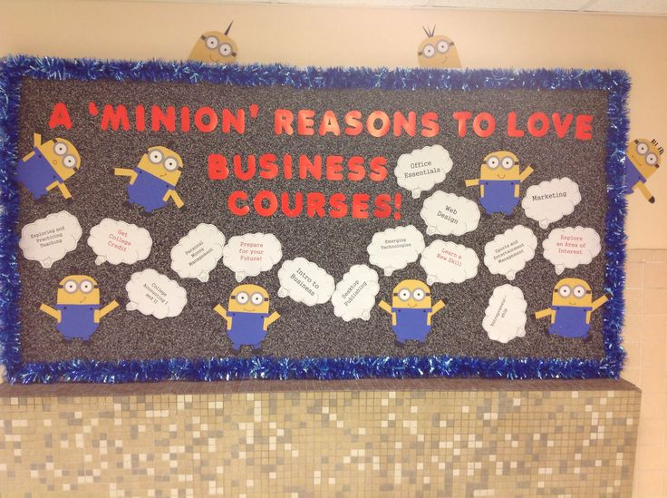 Minion bulletin board promoting business education
