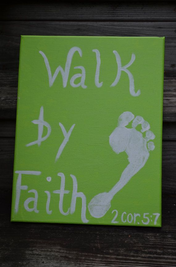 Painting done on a raised canvas.    11 x 14    Can be done in any colors wanted.    Different lettering if wanted.    Walk by Faith 2 Cor. 5:7