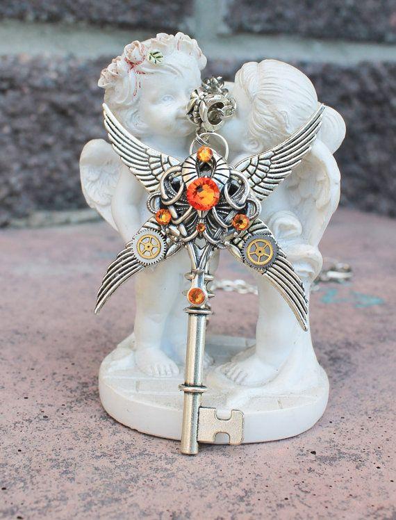 Steampunk ketting met sleutel ketting, gotische ketting, fantasie sleutel, fantasie Collier
