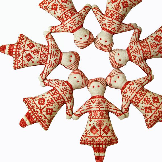 Redwork Doll Cross Stitch Scandinavian Christmas Ornament. $15.00, via Etsy.