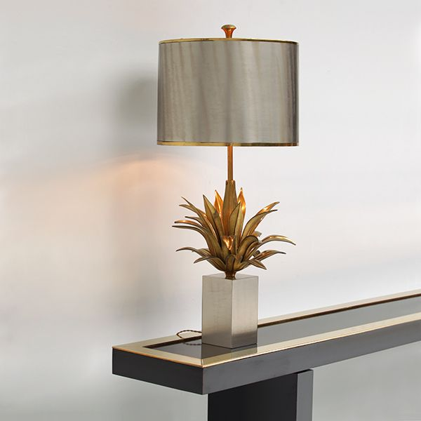 A Maison Charles table lamp with brass and bronze details. Made in Paris France.