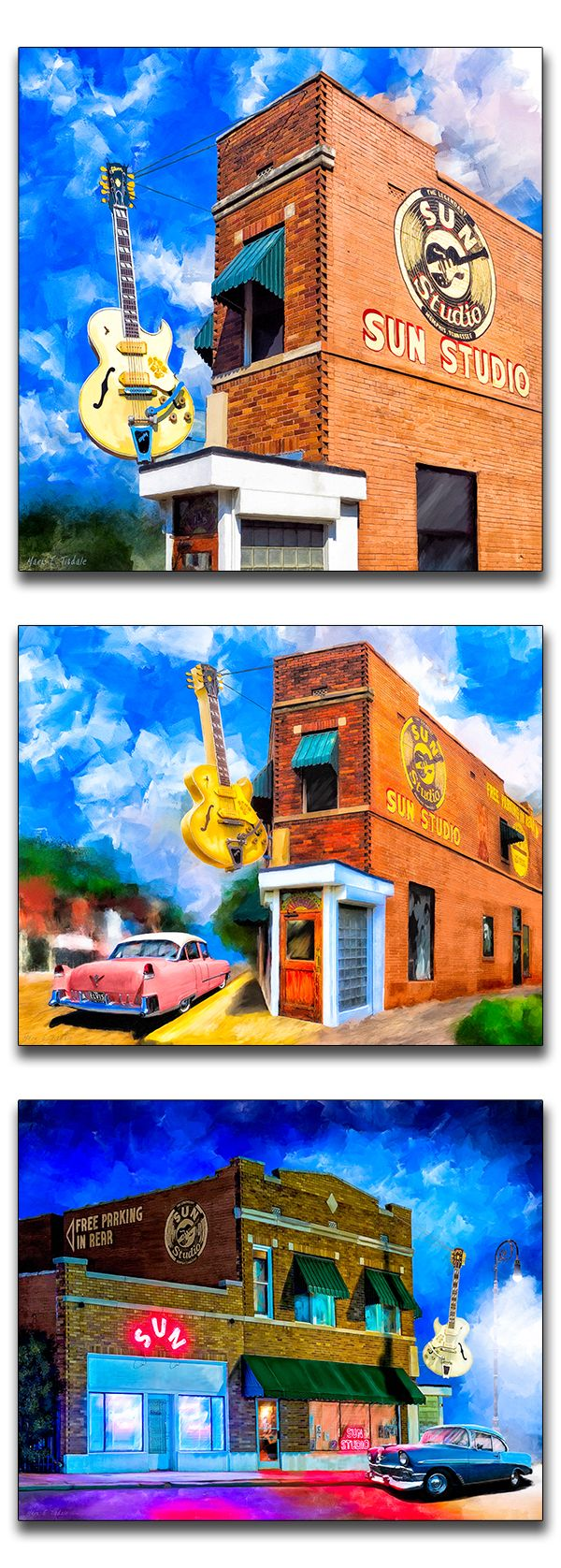 Popular artwork inspired by the 'Birthplace of Rock 'n' Roll' - Legendary Sun Studio in historic Memphis Tennessee. Elvis amongst a cavalcade of notables recorded here.