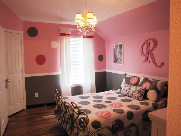 pretty in pink pink and gray girls bedroom wood circles 14360 | 40c034a7b73a6891b08538c798f5630d