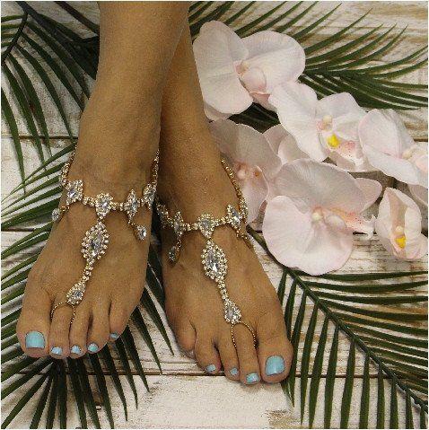 TIFFANY  wedding  barefoot sandals - gold
