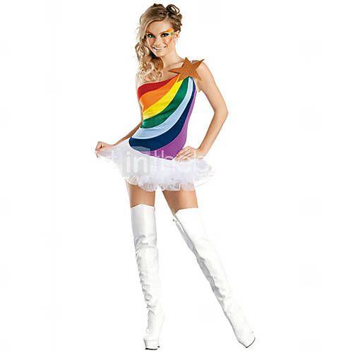 Fiesta de disfraces de Halloween de la muchacha del arco iris mujeres de poliéster de colores 2015 – €18.99