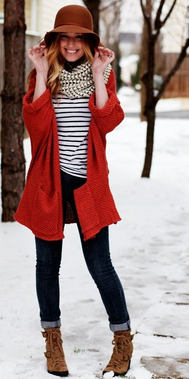 Winter look | Denim, striped shirt, red cardigan, scarf and chic hat