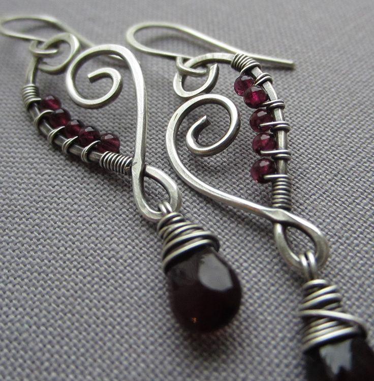 Wire Wrapped Earrings with Garnet Drops/ Artisan Earrings by mese9, $34.00