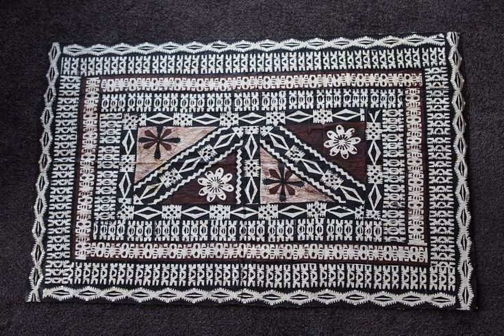 Large Vintage TIWI ISLAND Bark Cloth Art Intricate Detail