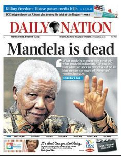 December 6, 2013 front page of Kenya newspaper Daily Nation reporting the death of Nelson Mandela on December 5, 2013