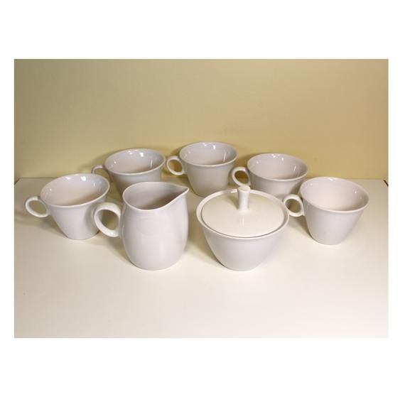 5 Cups 1 Creamer And 1 Sugar Bowl With Lid All Marked Cloud Nine This Set Also Includes 5 Matching Saucers Without Cloud Nin Cup And Saucer Creamer Sugar Bowl
