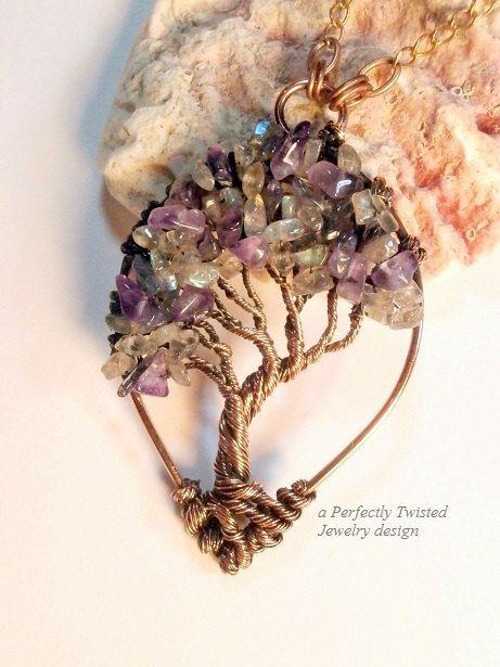 Wire Wrapped Mystic Tree of Life Pendant, Amethyst, Iolite & Labradorite Gemstones, Handmade Jewelry, Antiqued Copper, Wire Tree Jewelry